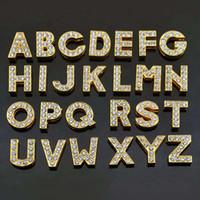 letras de liga de zinco venda por atacado-260 pçs / lote Liga de Zinco Deslize Letras Incrustadas com Strass Adequado para Pet Collar com Barra de Slides