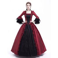boule de rococo achat en gros de-Robe noire et rouge Marie-Antoinette Robe gothique victorienne Robe de soirée fourreau Robes Rococo Renaissance