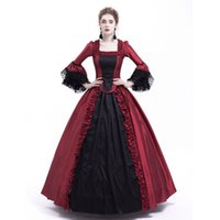 vestido casual victoriano al por mayor-Vestido negro y rojo de Marie Antonieta Vestido de fiesta gótico victoriano Vestido de fiesta Renacimiento Vestidos rococó