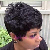 ingrosso parrucche nere di capelli umani celebrità-Parrucche Celebrity Pixie taglio corto parrucche per capelli neri per le donne nere parrucche anteriori in pizzo pieno bob corto per le donne nere