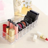Wholesale nail polish shelf rack - Acrylic Cosmetics Makeup Organizer Show Shelf Rack Durable Desk Nail Polish Lipstick Storage Box Desk Organizer 36pcs OOA4634