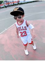 Wholesale Top Selling Kids Clothes - Children's basketball sports clothes 23 Bulls Tops Shirts +Shorts Children kids Sportswear Clothes Suits 3 colors hot selling