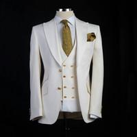 costumes pour grands hommes achat en gros de-Tuxedos de marié de style classique Big Pesk revers Groomsman Suit White Blazer comme costume de mariage Custom Made Homme Costume Veste + pantalon + gilet