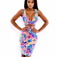 b3076668541 49% Off. CAD  16.42. 2018 Women Striped Printed Dress Summer Sleeveless  Bodycon Pencil Dress Sexy Club Wear Two Pieces Outfit Party Dresses