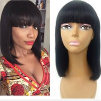 Wholesale lace front wigs fringe - Short Bob Full Lace Wig With Bangs For Black Women Glueless Virgin Brazilian Hairstyles Lace Front Short Human Hair Wigs With Fringe