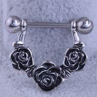 anillos de pezón negro al por mayor-Alta calidad Rose Flower Nipple Piercing 14G acero inoxidable Nipple Rings para mujeres hombres Sexy Piercings Body Jewelry Ladies negro