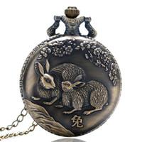 uhren tierkreis großhandel-Retro Chinese Zodiac Rabbit Nette Quarz Taschenuhr Fob Kette Anhänger Uhr Geschenke für Männer Frauen Kinder