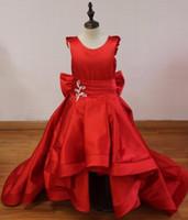 ingrosso vestito da matrimonio basso basso rosso t-Abbastanza rosso lungo alto basso abiti prima comunione per le ragazze con fiocco di cristallo Principessa Flower Girl Dresses Kid Dress for Wedding