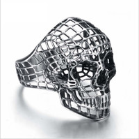 Wholesale ghost jewelry - Men's skull head hip hop stainless steel ring titanium punk rock punk ghost head ring silver jewelry