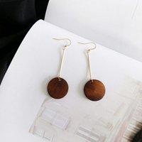Wholesale vintage geometric earrings - Round Natural Wood Earrings Fashion Geometric Minimalist Vintage Brown Wood Dangle Earring Jewelry Pendientes Brincos 2018