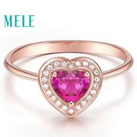 rote herz diamanten ring großhandel-Natürliche rote Turmalin 18 Karat Gold Diamanten Ehering für Frauen, Herz geschnitten Mode und Schönheit mit hoher Qualität