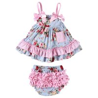 Wholesale girl nappies - Baby Clothing Newborn Baby Girls Tops Dress Set Ruffled Bloomers Nappy Baby Bloomers Dress Short Clothes