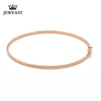 цветы из розового золота оптовых-18k Gold Bangle Rose Flower Flat Bangles Color Woman Popular 2017 New Fashion Female Bracelet Fine Jewelry Party Classic Women