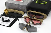 Wholesale full si - 2018 Shooting Fan Explosion-Proof Goggles SI Tactical Goggles Sunglasses Polarized Shooting Glasses Combo Set 4 Pairs Lens With Case Box