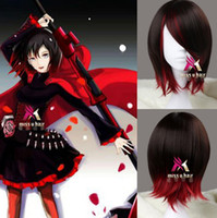 Wholesale Lolita Wigs - RWBY Ruby Short straight brown mixed red synthetic Cosplay Anime wig lolita wig