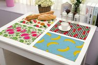 Wholesale tea table cloths - Fruit Series Placemat Dining Table Mat Coaster Cloth Insulation Mat Coffee Tea Cup Pad Kitchen Tool