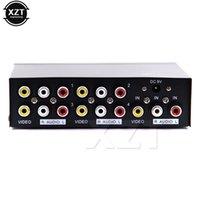 ingrosso audio splitter-Più nuovo RCA Splitter 4 porte 1x4 AV Video Audio Splitter RCA con custodia in metallo 1 in FOR 4 out per DVD HDTV W Power