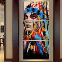 ingrosso dipinti indiani americani-Quadro Quadro Modulare Quadro Quadro 3 Dipinti Americano Indiano Decor Wall Art Poster For Living Room Cuadros
