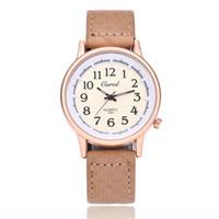 арабские модные платья для женщин оптовых-Women's Watch Fashion Leather Strap Wrist Watches Arabic Classic Digital Ladies Quartz Watch Female Dress Clock