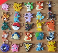 Wholesale pokemon key - Pocket Monster keychain Poke Silicone Pendant Pikachu Poke Ball Keychain Double Sided Design Key Chain Kids Gifts dhl free