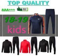 Wholesale children train - kids long sleeve training suit 17 18 MESSI SUAREZ survetement jacket Training suit Children 2018 Real Madrid tracksuit boys football chandal