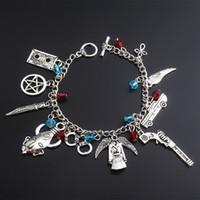Wholesale gun beads - Supernatural Bracelet Ancient Silver Collection Pentagram Handcuff Gun Angel Wings Charm Chain Bracelet Cuffs Wristband Jewelry 320016