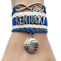 ingrosso braccialetto di pallacanestro di cuoio-10 pz / lotto Infinity Love Kentucky Basketball Bracelets- University School Team Bracciale Bangle Leather Velvet intrecciato Hanamde Wristbracel
