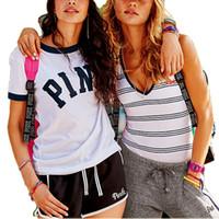 Wholesale Hot Pink Print - women Pink Short Sleeve T shirt Tees Shorts Short Pants Sets Sportswear Tracksuits Jogger Outfits Outwear Clothing hot BBA119