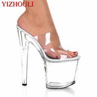 yüksek topuklu dans ayakkabıları toptan satış-8 inç Stiletto Yüksek Topuklar Ayakkabı Burnu açık Bayan Ayakkabıları 17 cm Yüksek Topuklu Terlik Platformu Dans Düğün Dans