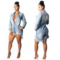 pantalones cortos de mezclilla sexy para mujer al por mayor-Womens Sexy Jeans Cortos Playsuits Para Mujer Moda Vintage Lavado Delgado de Manga Larga Trajes de Mezclilla Monos Shorts XXL