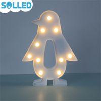 Wholesale penguin night light - SOLLED LED Marquee Night Light Cute Decorative Penguin Light for Bedroom Kids Room Tables Nice gift for Friends Kids