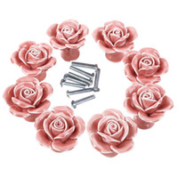 Wholesale Pink Drawer Pulls Online   Knobs Elegant Pink Rose Pulls Flower  Ceramic Cabinet Knobs Cupboard