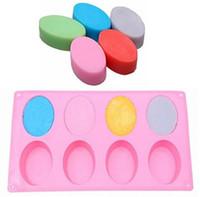 silikon kalıp yap toptan satış-8-Cavity Oval Şekil Sabun Kalıp Silikon Çikolata Kalıp Tepsisi Ev Yapımı Yapma DIY