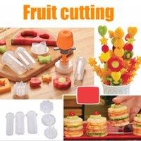 Wholesale decoration plastic fruit - 6 Shape Mold Creative Vegetable Fruit Shape Cutter Slicer Veggie Food Snack Maker Decoration Kitchen Tool with Opp Package CCA9762 48pcs
