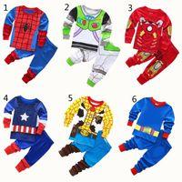 Wholesale man suit girl for sale - Group buy Boys Girls Superhero Pajamas New Children Avenger Iron Man Captain America Spiderman long sleeve tops Pants sets Suits B001