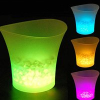 Wholesale Ice Bucket Champagne - 5L 7 Colors LED RGB Light Changeable Ice Bucket Champagne Wine Beverage Drinks Beer Ice Cooler Bar Party Tools