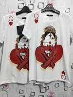 schürhakent-shirts großhandel-2018 neue Poker Q-Print Kurzarm Bluse Damen T-Shirt Stoffe bequem weiche Mode heiße Männer und Frauen