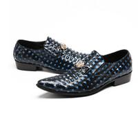 ingrosso scarpa stile mens alto tacco-2018 New Style tacco alto scarpe da uomo in pelle maglia tessere moda per il tempo libero vestito da partito scarpe uomo accrescere tacco alto mosaico treccia Z654