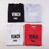 moda tişört kadın sokak toptan satış-Yeni 18ss Yaz Sokak giyim Avrupa Paris Moda Erkekler Yüksek Kalite Büyük Kırık Delik Pamuk Tshirt Casual Kadın Tee T-shirt S-2XL