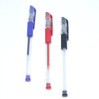 Wholesale custom stationery resale online - 3PC mm Plastic Ball point Pen Red Blue And Black Colors Ballpoint Custom Transparent Ballpoint Pen Stationery Office Work