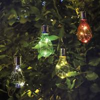açık led ışık ağaçları toptan satış-5 LED Su Geçirmez Güneş Dönebilen Açık Bahçe Dekor Kamp Asılı LED Işık Lamba Ampul Devre Noel Ağaçları Kerst 2017 @ T20
