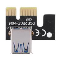 cable pci e 1x 16x al por mayor-Tarjeta de Adaptador de Cable de Extensión para Tarjeta Gráfica PCI-E Express 1xa 16x USB 3.0 Extender Riser Tarjeta Adaptadora con Cable SATA