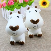 Wholesale cow cartoon toys for sale - Jumbo Cartoon Milk Cow Squishy Slow Rising Phone Straps Charm Pendant Squishies Animal Shape Decompression Toys rf C