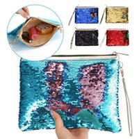 Wholesale Bling Purses Sequins - DHL Girls DIY Mermaid Bling Sequin Evening Clutch Bag Reversible Sequins Coin Wallet Purse Makeup Storage Bags Women Shopping Casual Tote