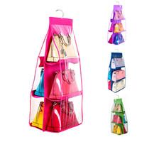 Wholesale women handbag rack - 6 Pocket 4 Color Organization Rack Hangers Closet Case Tidy Dustproof Hanging Women Handbag Tote Bag Purse Storage Organizers