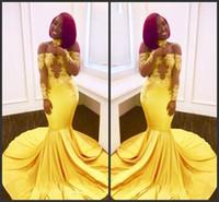 siyah sarı elbise elbisesi toptan satış-2019 Yeni Ücretsiz Kargo Sarı Mermaid Siyah Kız Gelinlik Modelleri Custom Made Sheer Uzun Kollu Aplikler Saten Abiye giyim Kapalı Omuzlar
