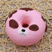 Wholesale Toy Hand Make - Simple PU Round Decompression Toy Simulation Pink Dog Donut Squishies Hand Made Elastic Squishy New Arrival 8jz B