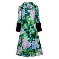 yeşil kış ceketi kızları toptan satış-Clocolor Kış Ceket Kadınlar Yeşil Patchwork Düğme Baskı Üç Çeyrek Kol Düğmesi Uzun Maxi Coat Sıcak Kızlar Kadife Kollu