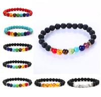 Wholesale seven days - 2017 Volcano bracelets Fashion Wholesale Natural lava volcano, tiger eye, amethyst stone with seven color stone Beaded Bracelet bangle