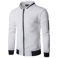 männer stehen kragen großhandel-2018 New Casual Mantel Männer Jacke Mode Herbst Feste Plaid Dünne Männer Bomberjacke Stehkragen Europäischen größe
